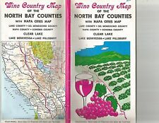 Wine Country Map of North Bay Counties with Napa Cities Map 1976