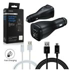Samsung Dual Port Car Charger Fast Charge OEM with Micro USB Type C Cables NEW