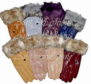 NEW LADIES LEATHER GLOVES FAKE FAUX LEATHER WINTER FUR DRIVING GLOVES WOMENS