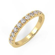0.25ct Micro Pave Round Diamond Half Eternity in Yellow Gold