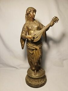 White Metal Woman with Mandolin Statue Spelter Ansonia?