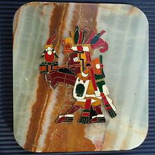Mexique OCHPANIZTLI AZTEC Laiton Emaillé  Cadre Marbre Mural 13 x 12 Cm 498 Grs