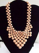 Pretty Peachy Pink Beaded Scarf Type Bib Necklace