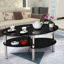 49New Tempered Glass Oval Side Coffee Table Shelf Chrome Base Living Room Black