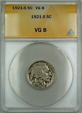 1921-S Buffalo Nickel 5c Coin ANACS VG-8