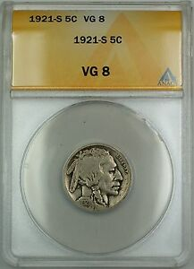 1921-S Buffalo Nickel 5c Coin ANACS VG-8