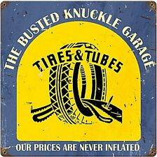 Busted Knuckle Garage TIRE shop metallo segno 300 mm x 300 mm (PST)