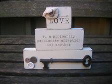 SHABBY CREAM WOODEN VINTAGE LOVE WORD BLOCK