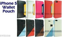 FOR APPLE IPHONE 5 5G 5S LEATHER CASE COVER WALLET POUCH FLIP SKIN FREE GUARD