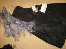 Steampunk Victorian Emma ballgown dress black taffeta shawl bag mitts M