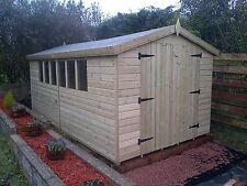 GARDEN SHED TANALISED ULTIMATE HEAVY DUTY 18X8 APEX 22MM T&G.  3X2