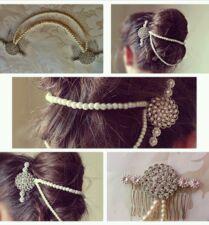 Bridal Ivory Pearl Diamante Double Hair Comb Forehead Bun Wrap Boho Vintage