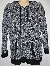 DKNY -  PLUS 1X - BLACK & WHITE PRINT ZIP FRONT  COTTON BLEND HOODIE SWEATSHIRT