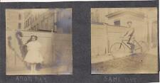 1900s Photo Arbor Day Pretty Tween Girl Flower Floral Headress Boy On Bicycle
