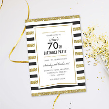 Surprise 70th Birthday Party Invitations Evening Disco Cards Invites GLF 07