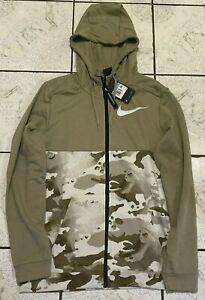 Mens Nike Dri-Fit Full Zip Camo Training Hoodie Green CU6048-342 NWT $70