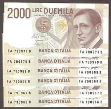 1x 2000 Lire MARCONI serie A Numeri consecutivi mazzetta FDS ASSOLUTO UNC 2.000