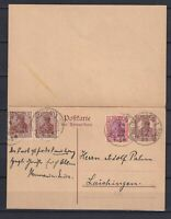 GERMANY 1919, Reichpost, Rare card, Double card message and reply 15 Pfg.