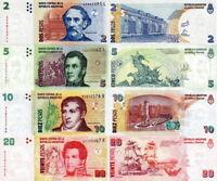 ARGENTINA - Lotto 4 banconote 2/5/10/20 pesos FDS - UNC