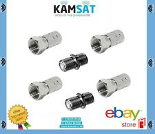 4 x F Plugs + 2 x F Coupler Join Extend Sky Satellite Twin Coax Cable