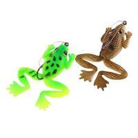 4Pcs simulation grenouille appat 60mm Leurres de peche 2 couleurs avec mani Y2I9