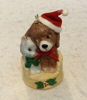 J. S. N. Y. Vintage Ceramic Dog And Kitten Christmas Tree Ornament