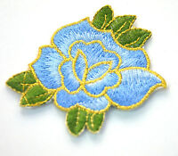 BLUE + GOLD ROSE FLOWER 7cm Embroidered Sew Iron On Cloth Patch Badge APPLIQUE