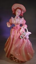 Antique 1956 Florence Ceramics HP Pink Annabel with Basket of Flower Figurine