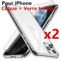 Coque iPhone + Verre trempé Protection écran 12/11 Pro Xs Max XR X 8 7 6s SE
