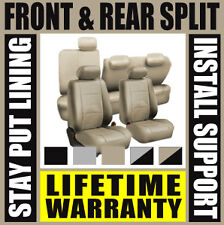 Solid Tan Deluxe Perf Leather Full Car Seat Covers Set Split Fold  SUV Dg2078