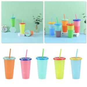 1/5 Packs Color Changing Tumblers Lids Straws Reusable Cold Drink Cups Hot