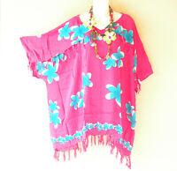 KB446 Floral Batik V Neck Plus Kimono Poncho Hippy Women Blouse Top up to 5X