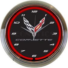 "Chevrolet Corvette C8 Flags Logo Red Neon Hanging Wall Clock 15"" Diameter 8CORV8"