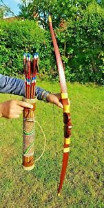 TRADITIONAL RECURVE ARCHERY SET WITH 10 ARROWS & QUIVER (HAND CARVED & PAINTED)