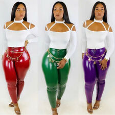 Sexy Women Candy Color Glossy Faux Leather Bodycon Pencil Pants Trousers