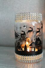 Christmas Scene Sticker, Santa Village Scene, Christmas Jar/Candle Sticker