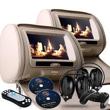 "2019 TAN PAIR HEADREST 7"" CAR MONITOR DVD PLAYER SCREENS USB IR HEADPHONES"