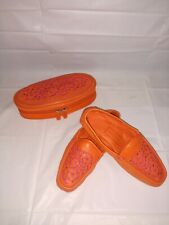Cole Haan Home Womens 9 B Orange & Pink Leather Moccasins Slippers Shoes