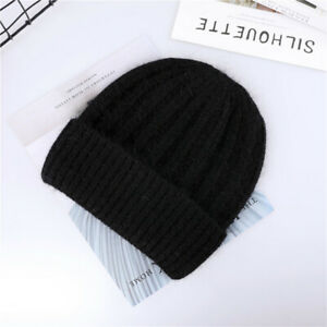 2021 Winter Hats for Women Rabbit Angora Cashmere Knitted Beanies Thick Warm