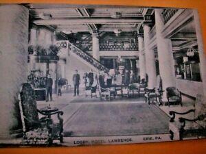 Vintage Postcard Lobby, Hotel Lawrence Erie Pa Black White J M Stearns Bookstore