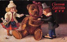 POSTCARD  CHILDREN   TEDDY  BEAR  Related  Sick  Teddy  XMAS  Opt   Tuck