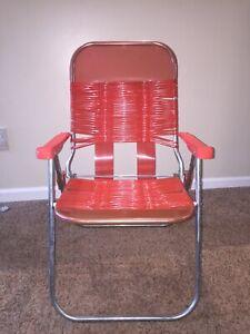 Vintage Red/orange/pink Folding Lawn Chair Beach Deck Pool Vinyl Tube