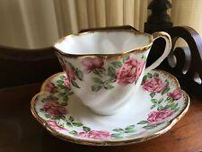 Salisbury Heavy gold pink roses fine bone china Tea Cup & Saucer England
