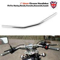 """1"""" Motorcycle Chrome Drag Bar Handlebar Universal For Yamaha Honda Suzuki Harley"""