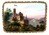 19th CENTURY HAND PAINTED STOLZENFELS CASTLE PORCELAIN BROOCH ** GOLD MOUNT **