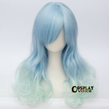 55CM Lolita Wavy Light Blue Mixed Green Long Hair Ombre Angel Cosplay Wig + Cap
