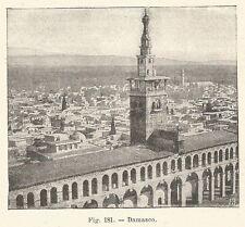 B1794 Damasco - Veduta - Incisione antica del 1925 - Engraving