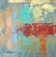 "Abstract Painting original Signed gallery wrap ""Color Tracks"" 16x16 Steven Graff"