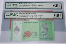 (PL) RM 5 & RM 10 AU 0007979 PMG 66 EPQ SAME PREFIX &  LOW FANCY NUMBER GEM UNC