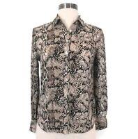 Talbots Womens Snakeskin Long Sleeve Button Down Blouse size 2P Petite